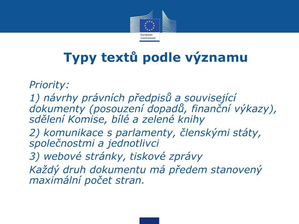 Typy textů podle významu Priority: 1) návrhy právních předpisů a související dokumenty (posouzení dopadů, finanční výkazy), sdělení Komise, bílé a zelené knihy 2) komunikace s parlamenty, členskými státy, společnostmi a jednotlivci 3) webové stránky, tiskové zprávy Každý druh dokumentu má předem stanovený maximální počet stran.