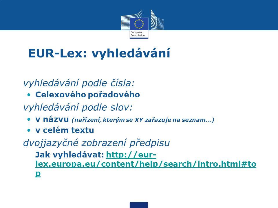 EUR-Lex: vyhledávání vyhledávání podle čísla: Celexového pořadového vyhledávání podle slov: v názvu (nařízení, kterým se XY zařazuje na seznam…) v celém textu dvojjazyčné zobrazení předpisu Jak vyhledávat: http://eur- lex.europa.eu/content/help/search/intro.html#to phttp://eur- lex.europa.eu/content/help/search/intro.html#to p