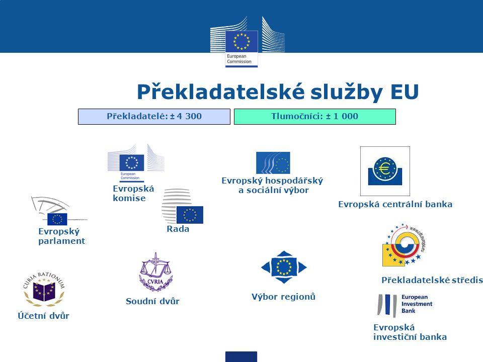 Překladatelské služby EU Rada Evropský parlament Soudní dvůr Účetní dvůr Evropský hospodářský a sociální výbor Výbor regionů Evropská centrální banka Překladatelské středisko Překladatelé: ± 4 300Tlumočníci: ± 1 000 Evropská komise Evropská investiční banka