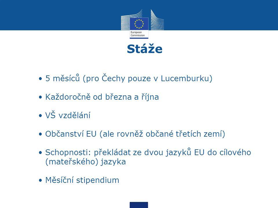 5 měsíců (pro Čechy pouze v Lucemburku) Každoročně od března a října VŠ vzdělání Občanství EU (ale rovněž občané třetích zemí) Schopnosti: překládat ze dvou jazyků EU do cílového (mateřského) jazyka Měsíční stipendium Stáže