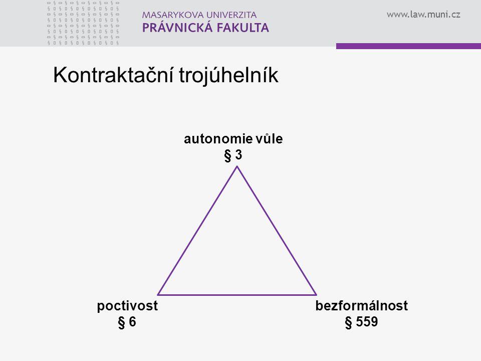 www.law.muni.cz poctivost § 6 bezformálnost § 559 autonomie vůle § 3 Kontraktační trojúhelník
