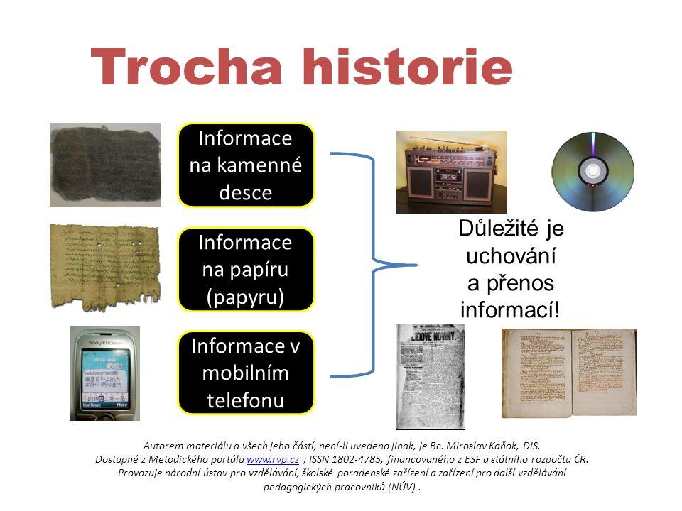 Trocha historie Informace na kamenné desce Informace na papíru (papyru) Informace v mobilním telefonu Důležité je uchování a přenos informací.