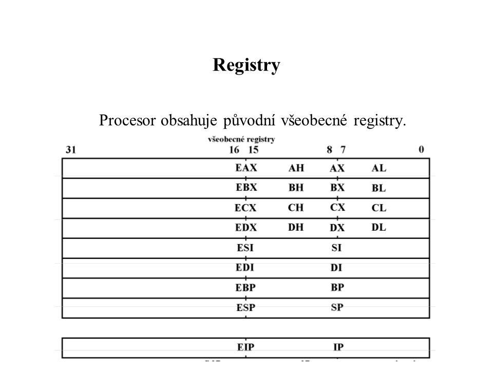 Registry Procesor obsahuje původní všeobecné registry.