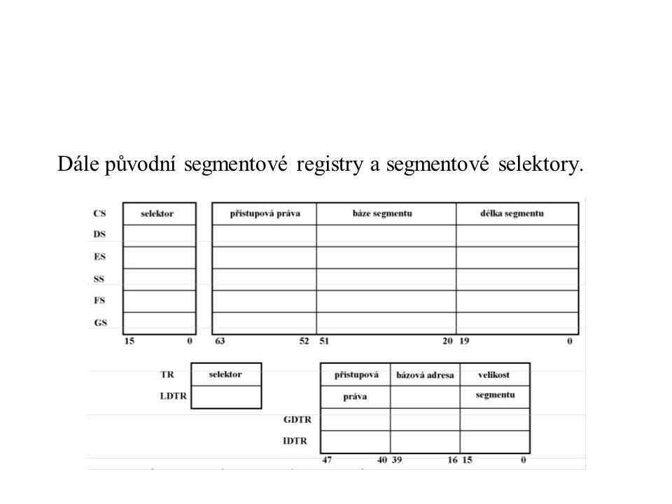 Dále původní segmentové registry a segmentové selektory.
