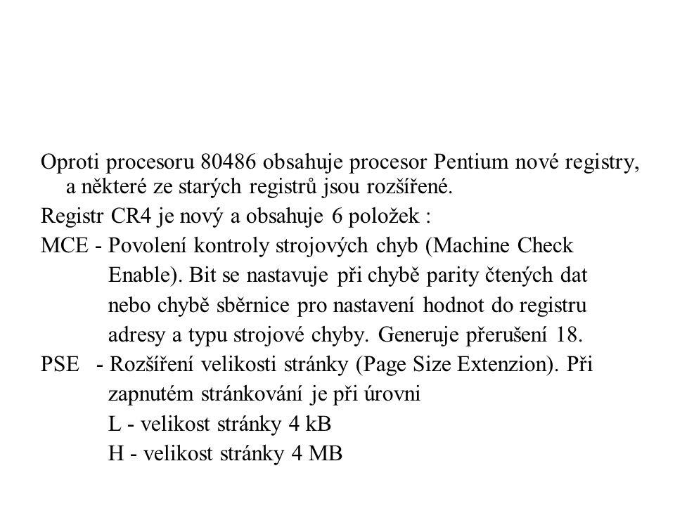 Oproti procesoru 80486 obsahuje procesor Pentium nové registry, a některé ze starých registrů jsou rozšířené.
