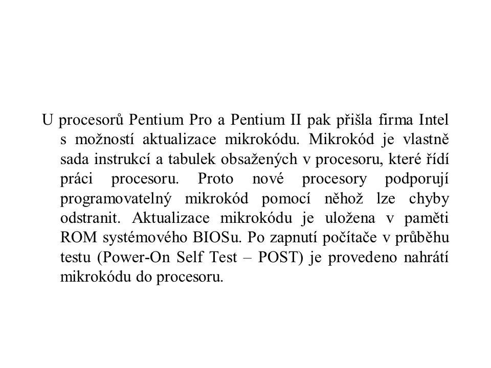 U procesorů Pentium Pro a Pentium II pak přišla firma Intel s možností aktualizace mikrokódu.