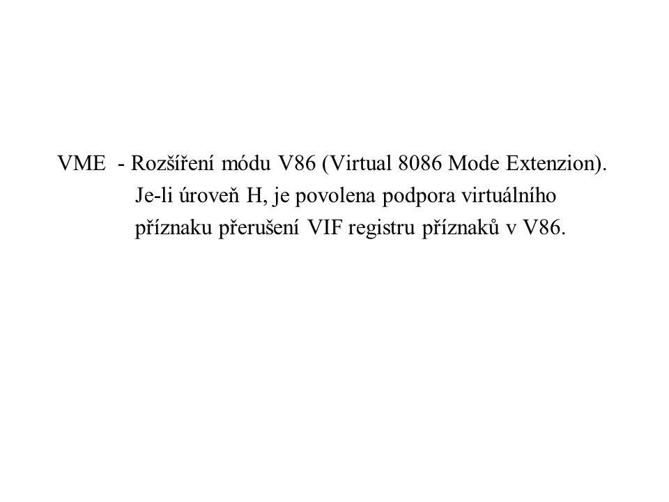 VME - Rozšíření módu V86 (Virtual 8086 Mode Extenzion).