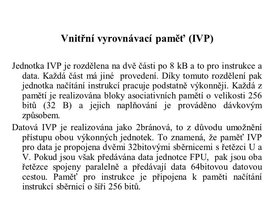 Vnitřní vyrovnávací paměť (IVP) Jednotka IVP je rozdělena na dvě části po 8 kB a to pro instrukce a data.