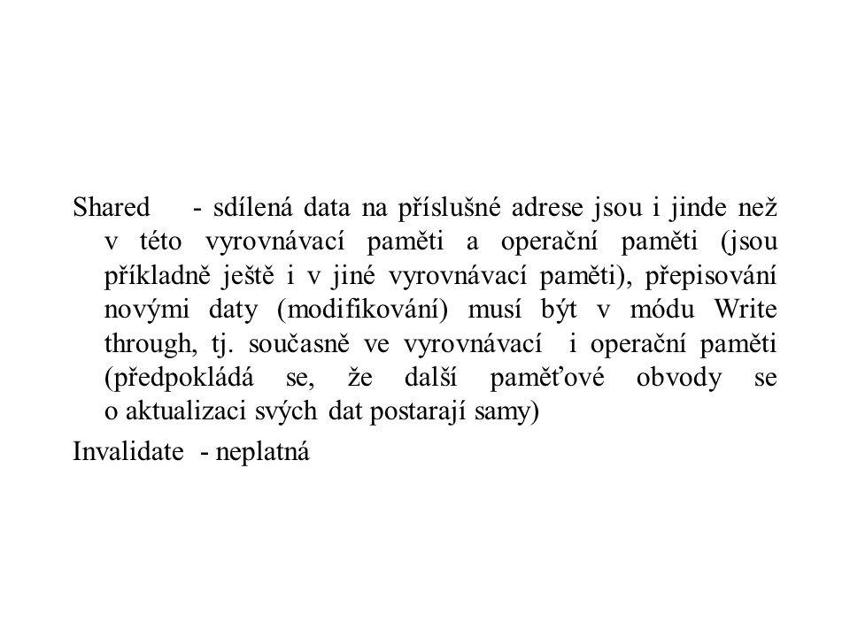 Shared - sdílená data na příslušné adrese jsou i jinde než v této vyrovnávací paměti a operační paměti (jsou příkladně ještě i v jiné vyrovnávací paměti), přepisování novými daty (modifikování) musí být v módu Write through, tj.