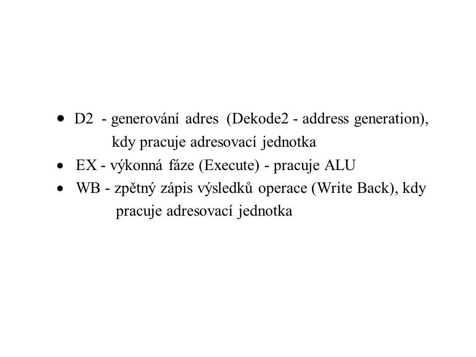  D2 - generování adres (Dekode2 - address generation), kdy pracuje adresovací jednotka  EX - výkonná fáze (Execute) - pracuje ALU  WB - zpětný zápis výsledků operace (Write Back), kdy pracuje adresovací jednotka