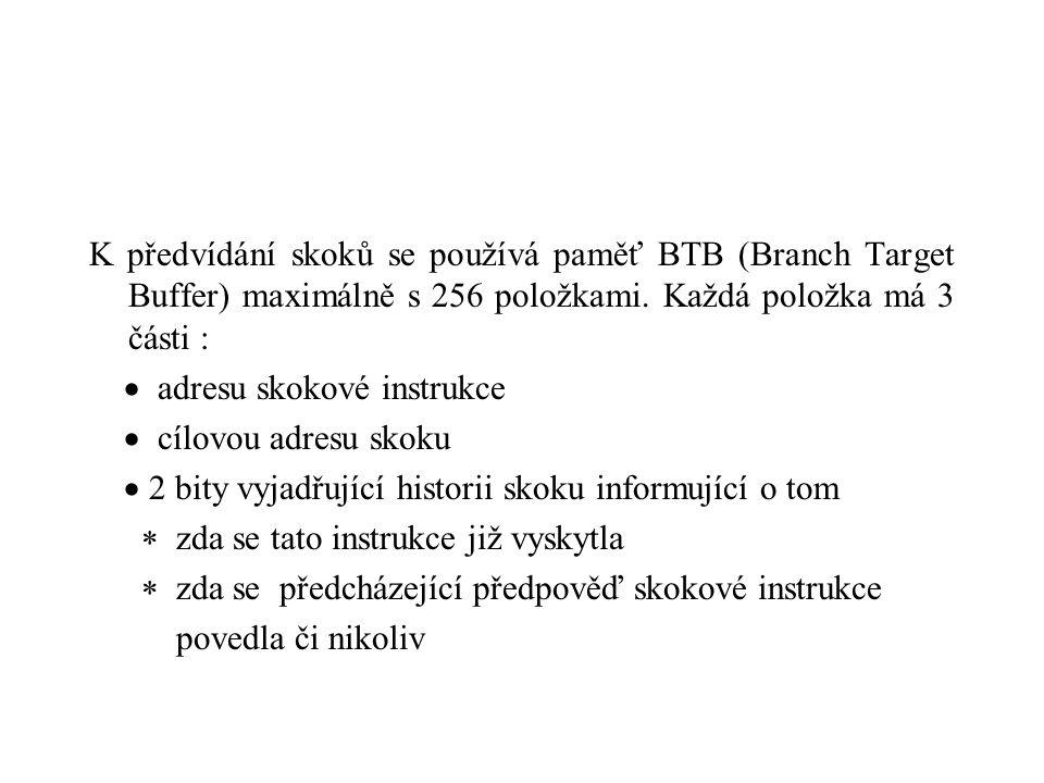 K předvídání skoků se používá paměť BTB (Branch Target Buffer) maximálně s 256 položkami.