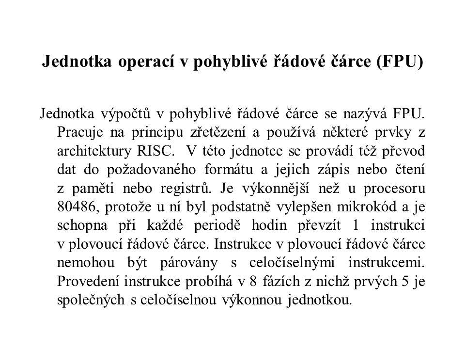 Jednotka operací v pohyblivé řádové čárce (FPU) Jednotka výpočtů v pohyblivé řádové čárce se nazývá FPU.