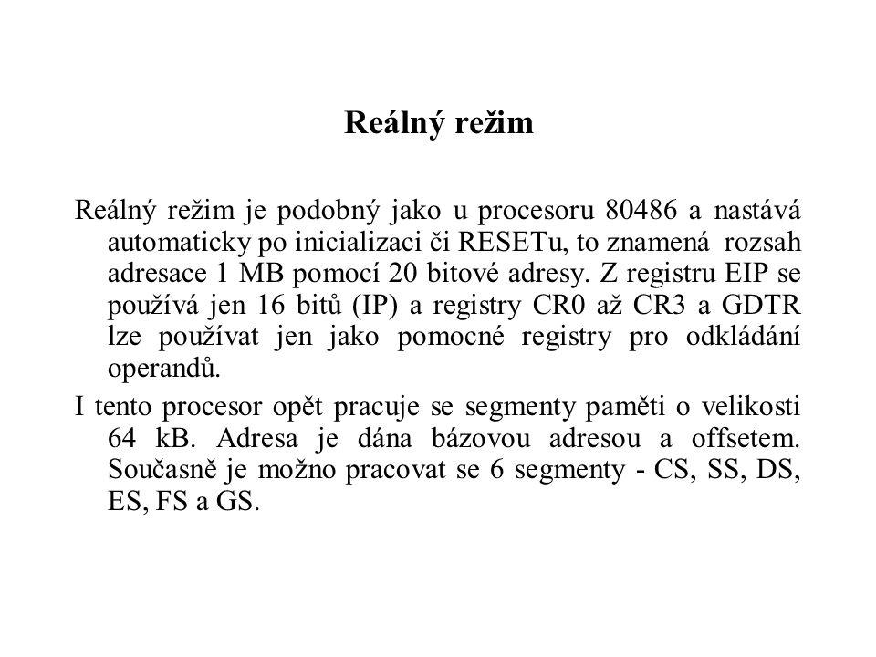 Reálný režim Reálný režim je podobný jako u procesoru 80486 a nastává automaticky po inicializaci či RESETu, to znamená rozsah adresace 1 MB pomocí 20 bitové adresy.