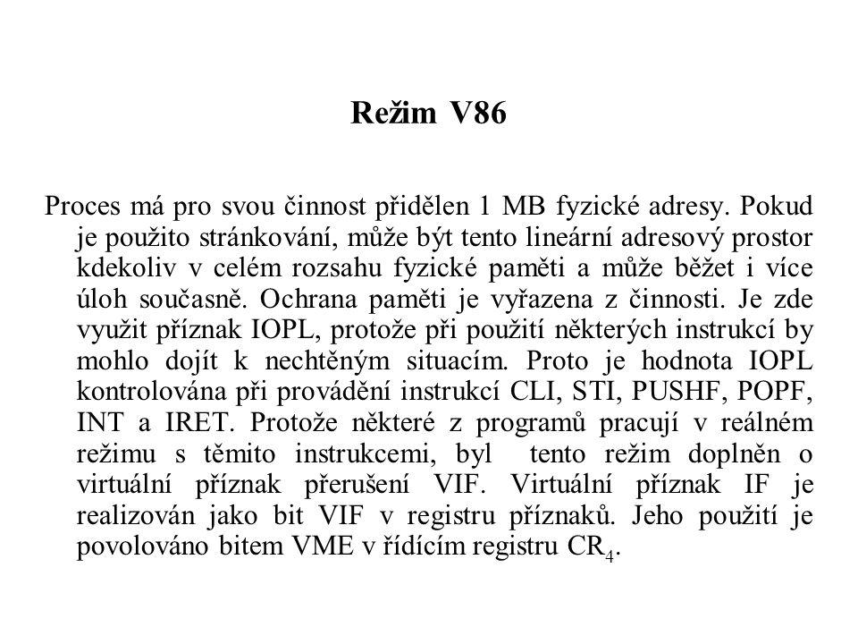 Režim V86 Proces má pro svou činnost přidělen 1 MB fyzické adresy.