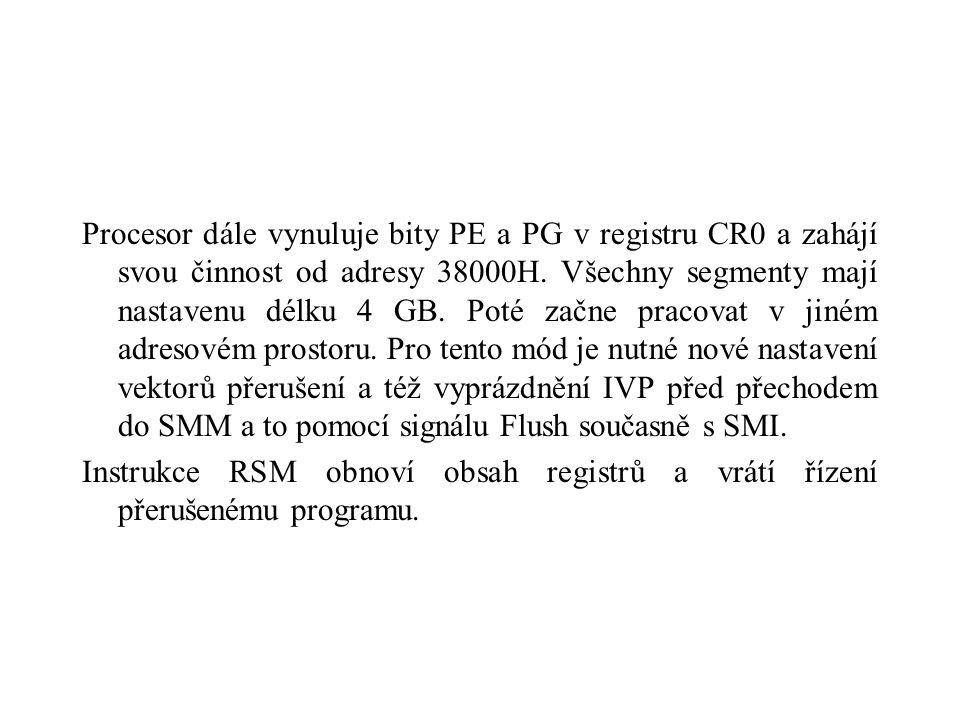 Procesor dále vynuluje bity PE a PG v registru CR0 a zahájí svou činnost od adresy 38000H.
