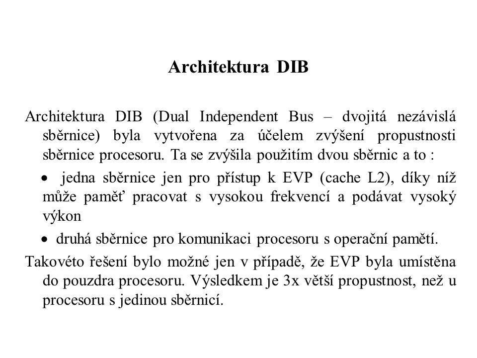 Architektura DIB Architektura DIB (Dual Independent Bus – dvojitá nezávislá sběrnice) byla vytvořena za účelem zvýšení propustnosti sběrnice procesoru.