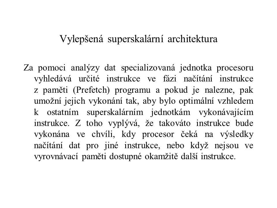 Vylepšená superskalární architektura Za pomoci analýzy dat specializovaná jednotka procesoru vyhledává určité instrukce ve fázi načítání instrukce z paměti (Prefetch) programu a pokud je nalezne, pak umožní jejich vykonání tak, aby bylo optimální vzhledem k ostatním superskalárním jednotkám vykonávajícím instrukce.