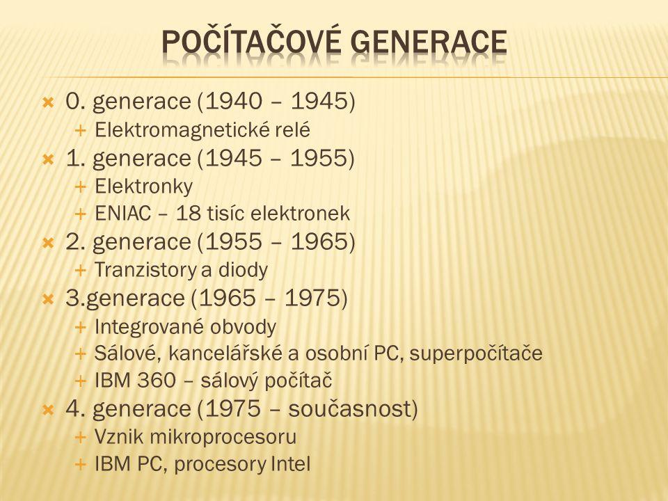  0. generace (1940 – 1945)  Elektromagnetické relé  1.