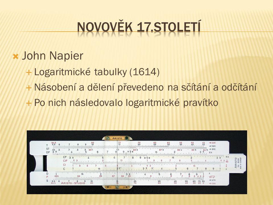  John Napier  Logaritmické tabulky (1614)  Násobení a dělení převedeno na sčítání a odčítání  Po nich následovalo logaritmické pravítko