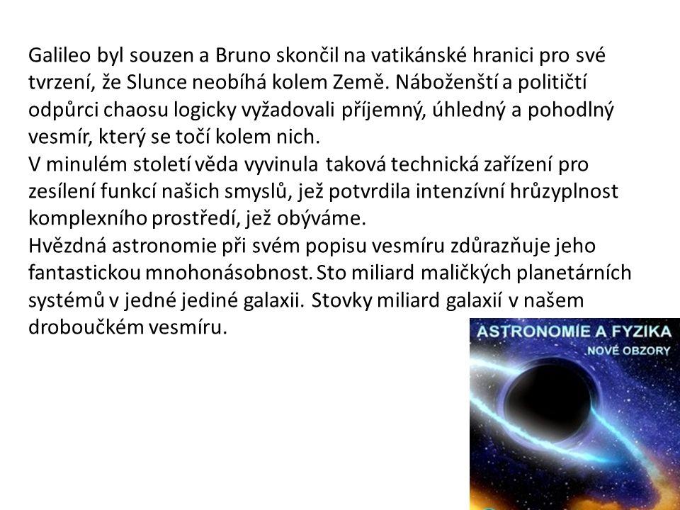 Galileo byl souzen a Bruno skončil na vatikánské hranici pro své tvrzení, že Slunce neobíhá kolem Země. Náboženští a političtí odpůrci chaosu logicky