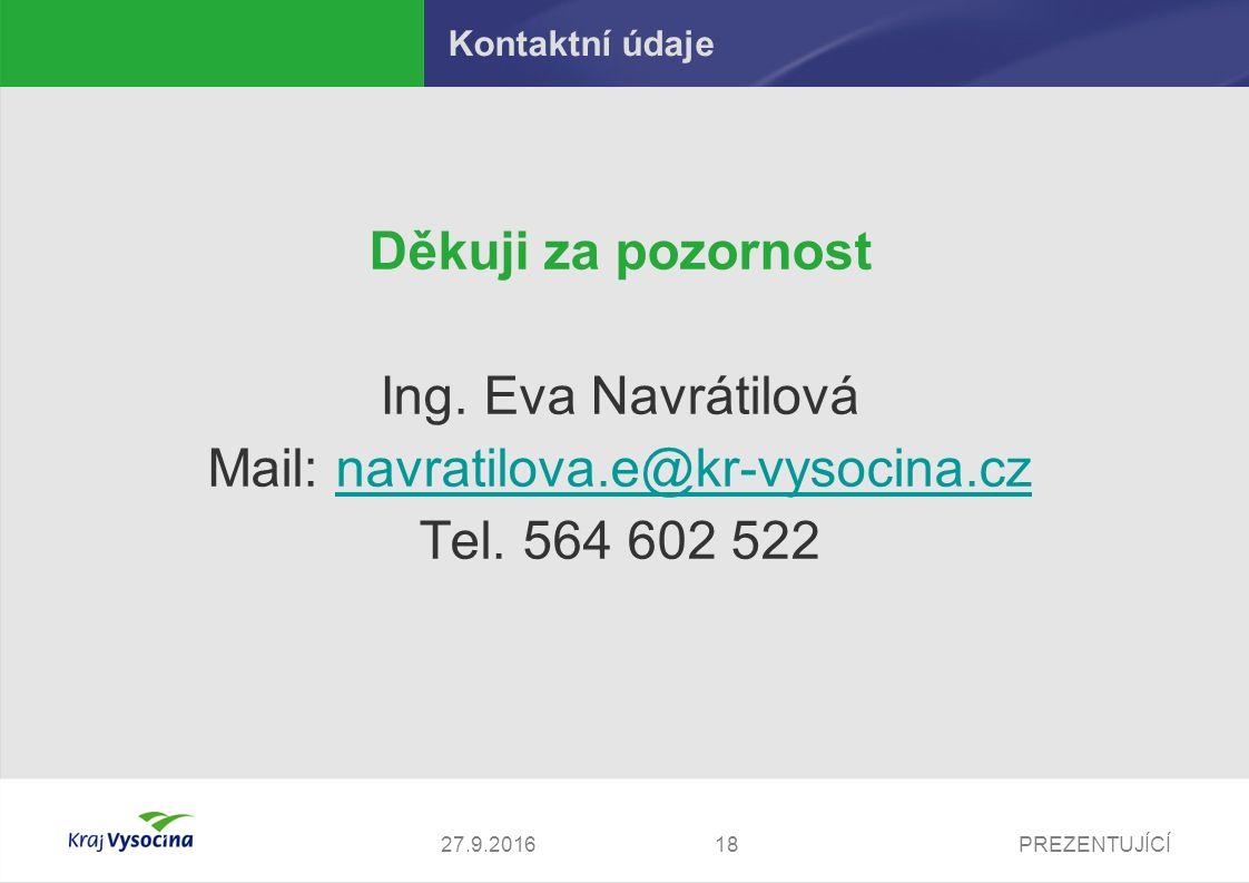 PREZENTUJÍCÍ1827.9.2016 Kontaktní údaje Děkuji za pozornost Ing. Eva Navrátilová Mail: navratilova.e@kr-vysocina.cznavratilova.e@kr-vysocina.cz Tel. 5