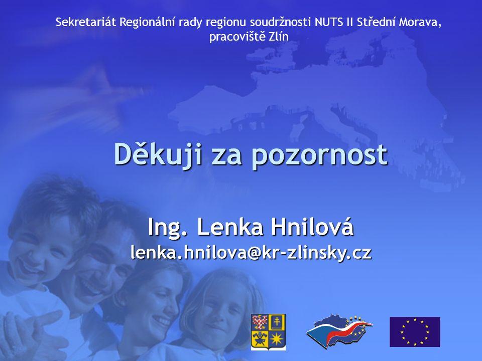 Děkuji za pozornost Ing. Lenka Hnilová lenka.hnilova@kr-zlinsky.cz Sekretariát Regionální rady regionu soudržnosti NUTS II Střední Morava, pracoviště