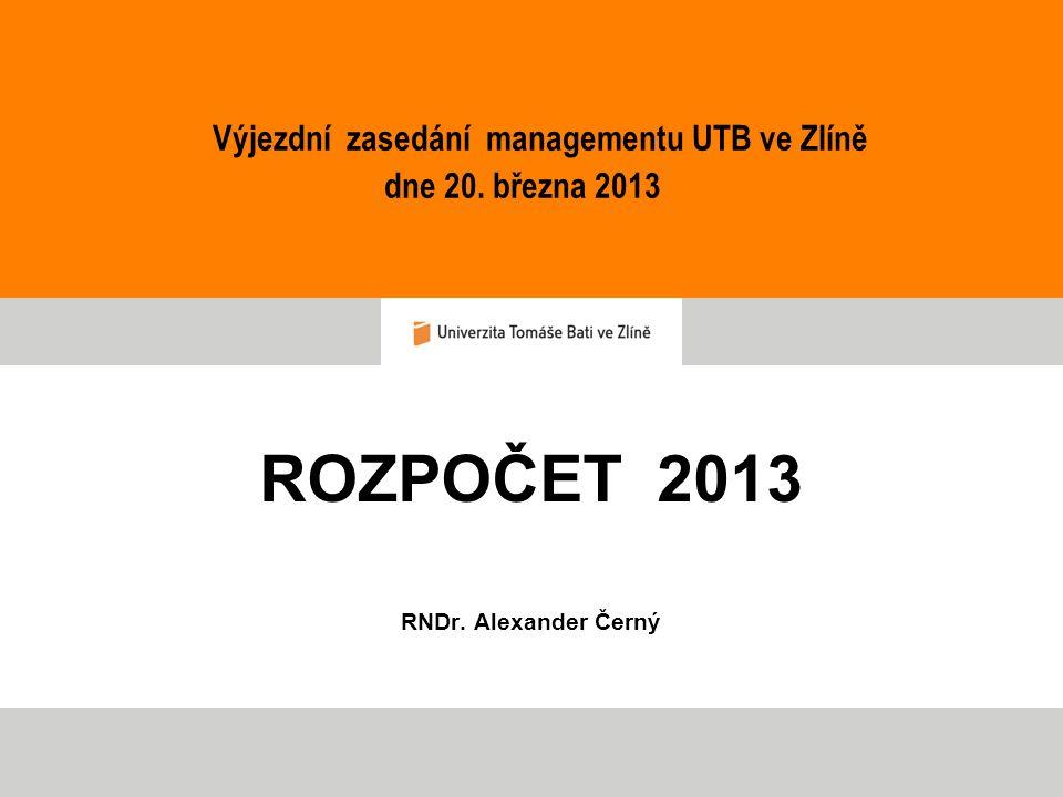 ROZPOČET 2013 RNDr. Alexander Černý Výjezdní zasedání managementu UTB ve Zlíně dne 20. března 2013