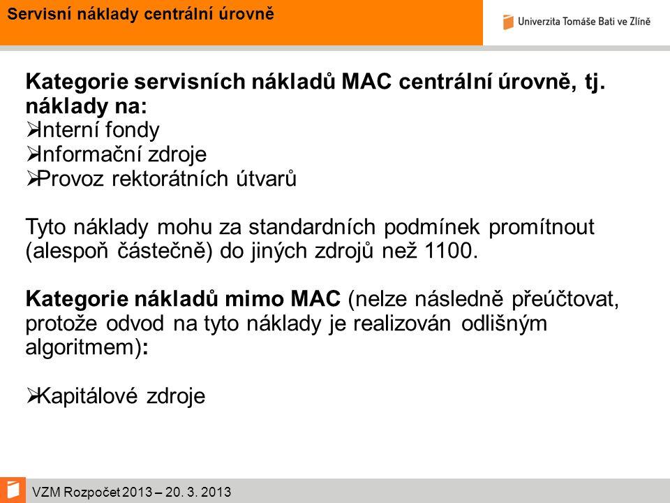 VZM Rozpočet 2013 – 20. 3. 2013 Kategorie servisních nákladů MAC centrální úrovně, tj.