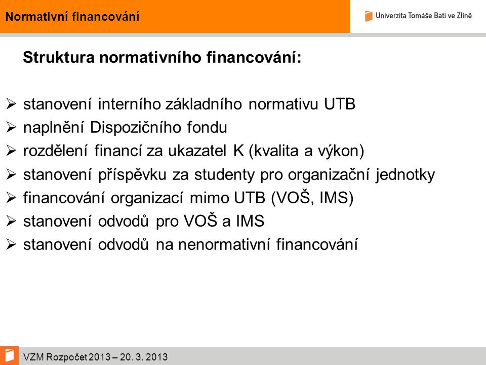 VZM Rozpočet 2013 – 20.3. 2013 Přehled financování interních fondů PoložkaPlán 2012 v tis.