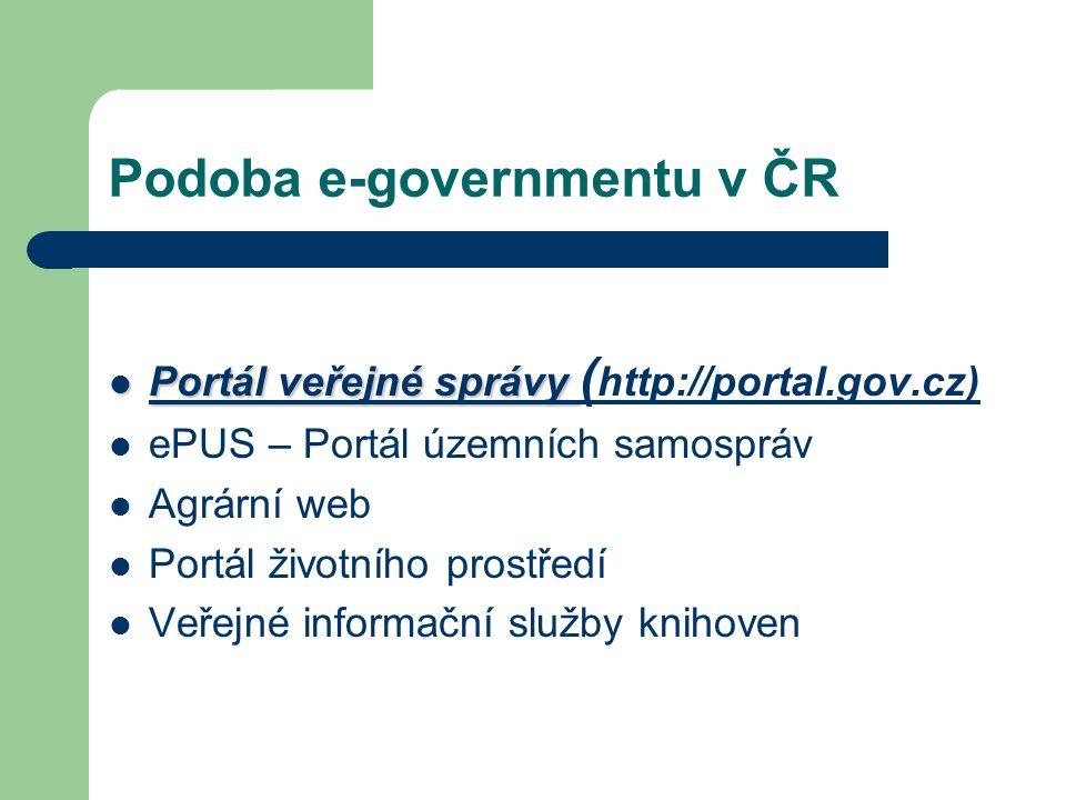 Podoba e-governmentu v ČR Portál veřejné správy Portál veřejné správy ( http://portal.gov.cz) http://portal.gov.cz ePUS – Portál územních samospráv Agrární web Portál životního prostředí Veřejné informační služby knihoven