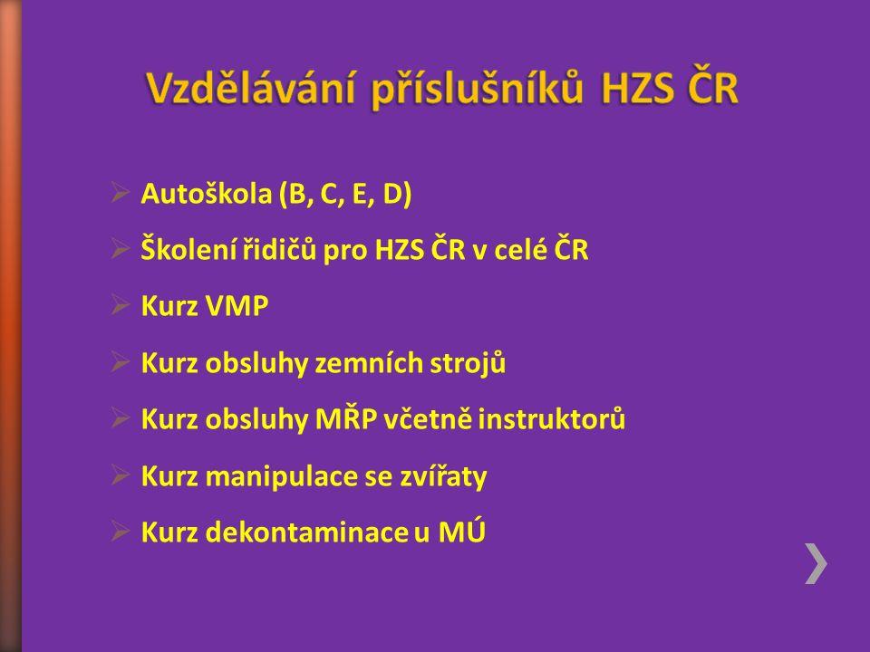  Autoškola (B, C, E, D)  Školení řidičů pro HZS ČR v celé ČR  Kurz VMP  Kurz obsluhy zemních strojů  Kurz obsluhy MŘP včetně instruktorů  Kurz m