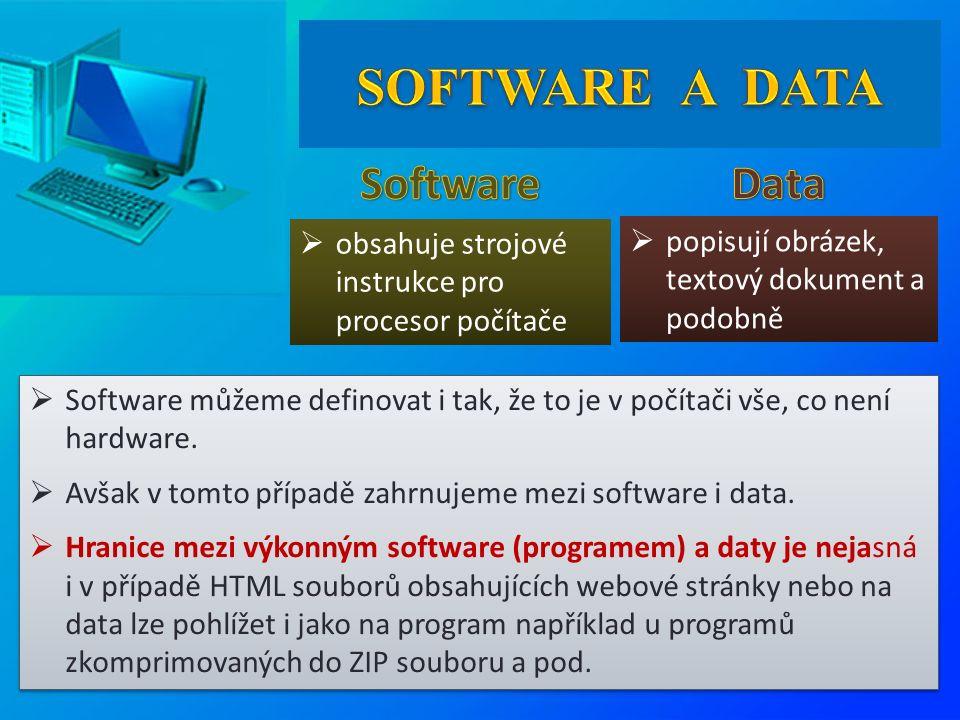  obsahuje strojové instrukce pro procesor počítače  popisují obrázek, textový dokument a podobně  Software můžeme definovat i tak, že to je v počítači vše, co není hardware.