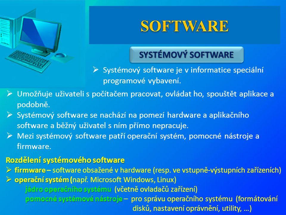  Systémový software je v informatice speciální programové vybavení.