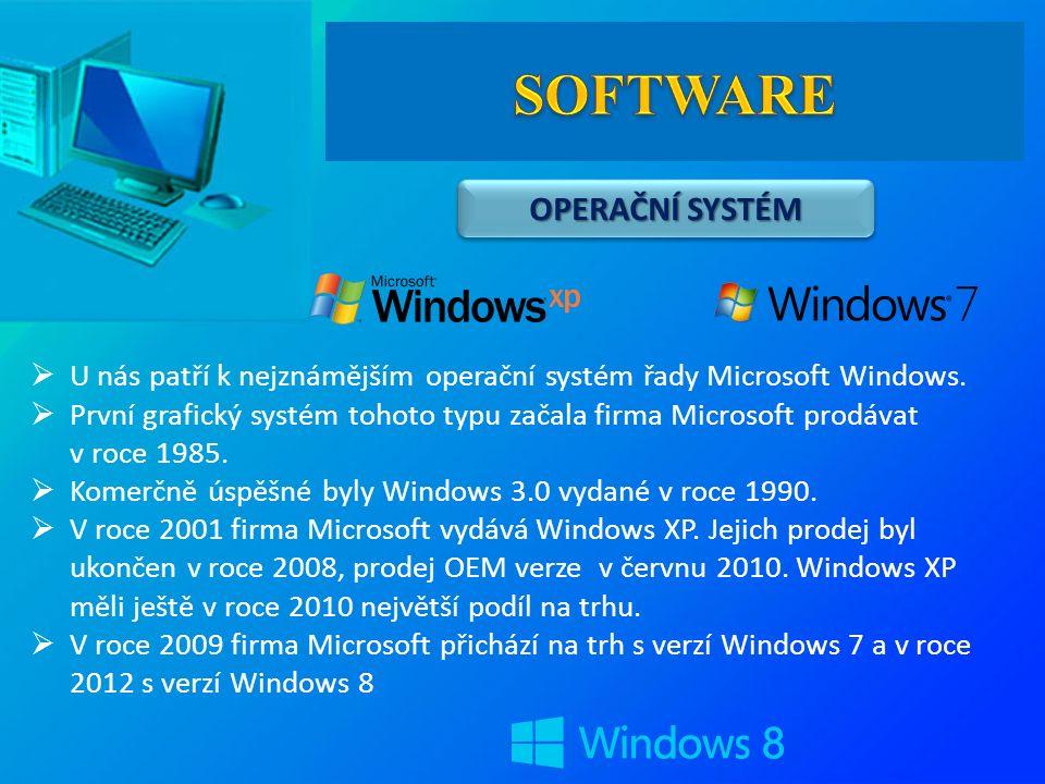 OPERAČNÍ SYSTÉM  U nás patří k nejznámějším operační systém řady Microsoft Windows.