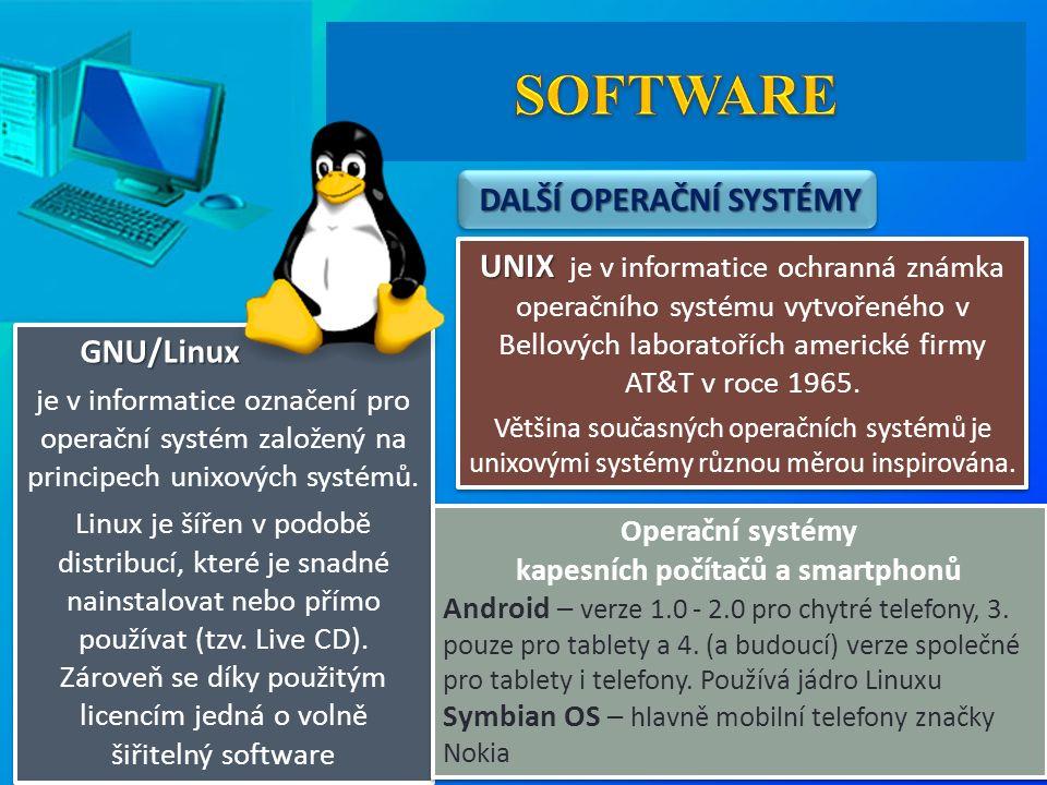 DALŠÍ OPERAČNÍ SYSTÉMY DALŠÍ OPERAČNÍ SYSTÉMY UNIX UNIX je v informatice ochranná známka operačního systému vytvořeného v Bellových laboratořích americké firmy AT&T v roce 1965.