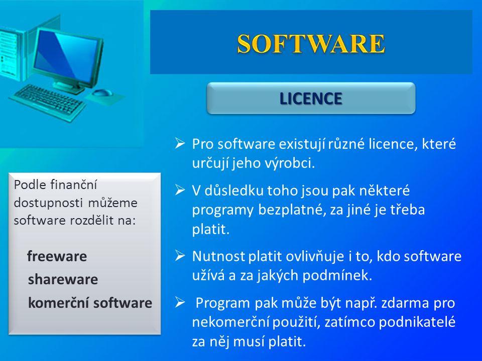 LICENCELICENCE  Pro software existují různé licence, které určují jeho výrobci.