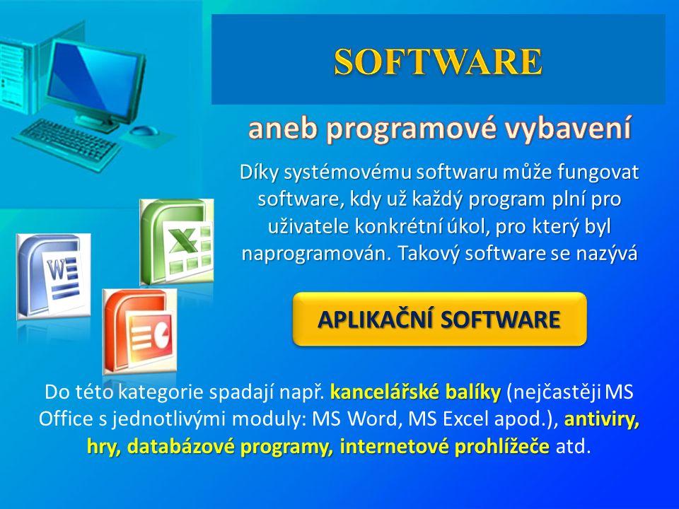 APLIKAČNÍ SOFTWARE Díky systémovému softwaru může fungovat software, kdy už každý program plní pro uživatele konkrétní úkol, pro který byl naprogramován.