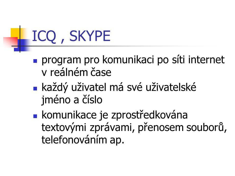 ICQ, SKYPE program pro komunikaci po síti internet v reálném čase každý uživatel má své uživatelské jméno a číslo komunikace je zprostředkována textovými zprávami, přenosem souborů, telefonováním ap.