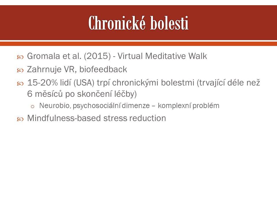  Gromala et al. (2015) - Virtual Meditative Walk  Zahrnuje VR, biofeedback  15-20% lidí (USA) trpí chronickými bolestmi (trvající déle než 6 měsíců