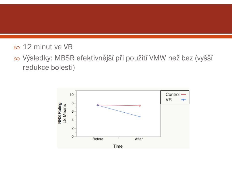  12 minut ve VR  Výsledky: MBSR efektivnější při použití VMW než bez (vyšší redukce bolesti)