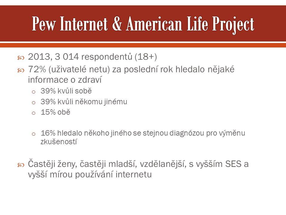  2013, 3 014 respondentů (18+)  72% (uživatelé netu) za poslední rok hledalo nějaké informace o zdraví o 39% kvůli sobě o 39% kvůli někomu jinému o