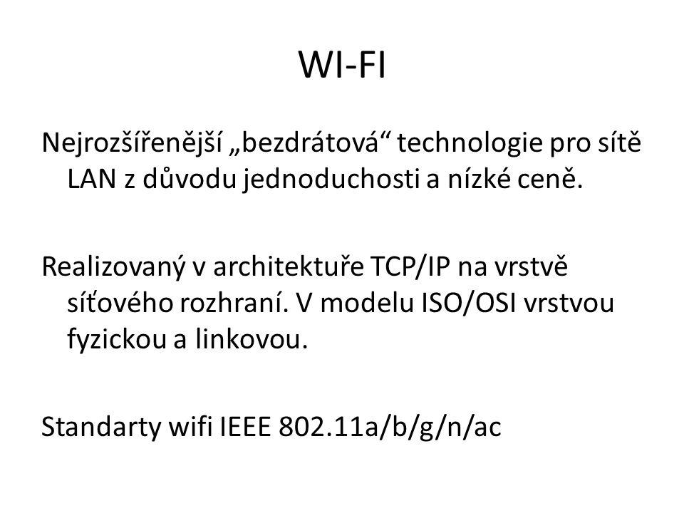"""WI-FI Nejrozšířenější """"bezdrátová technologie pro sítě LAN z důvodu jednoduchosti a nízké ceně."""