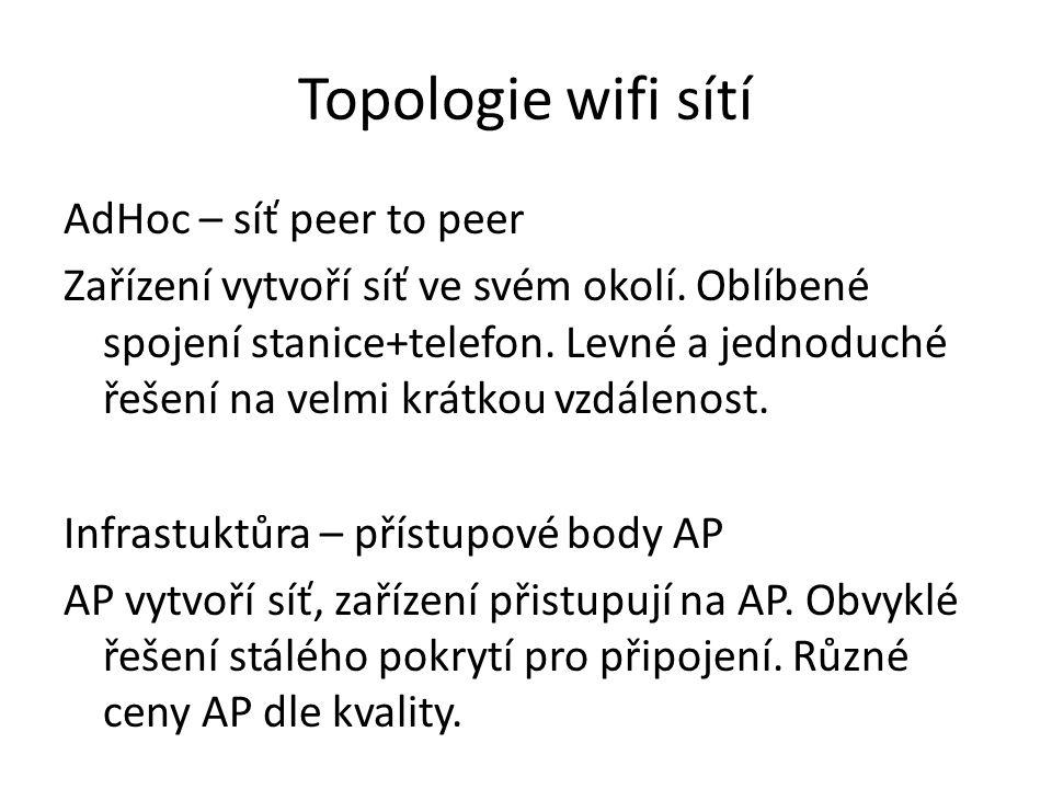 Topologie wifi sítí AdHoc – síť peer to peer Zařízení vytvoří síť ve svém okolí.