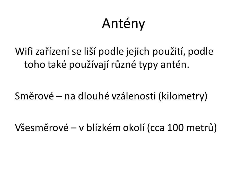 Antény Wifi zařízení se liší podle jejich použití, podle toho také používají různé typy antén.