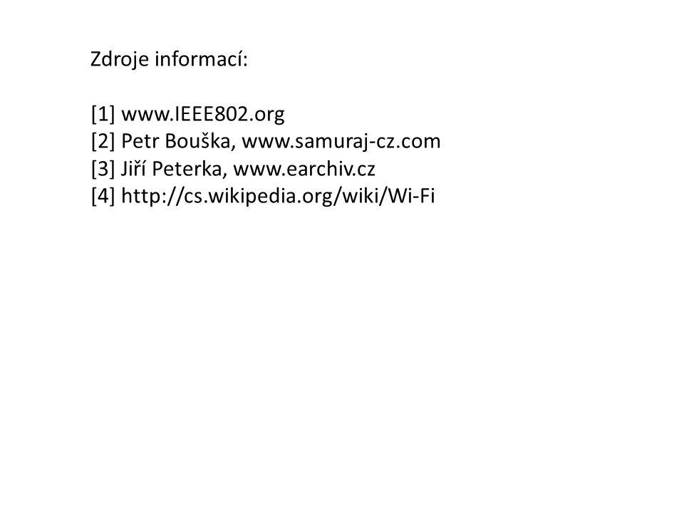 Zdroje informací: [1] www.IEEE802.org [2] Petr Bouška, www.samuraj-cz.com [3] Jiří Peterka, www.earchiv.cz [4] http://cs.wikipedia.org/wiki/Wi-Fi