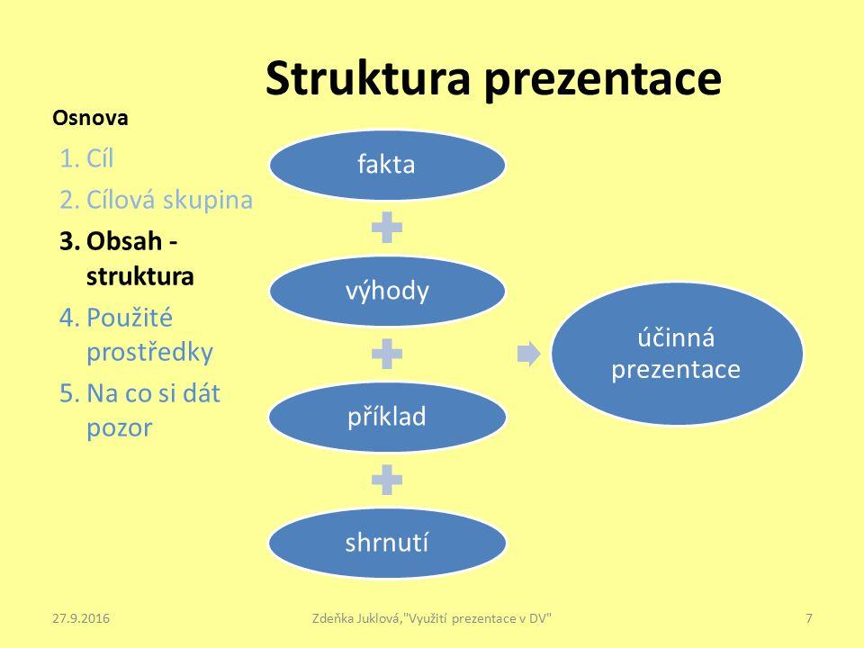 Osnova 1.Cíl 2.Cílová skupina 3.Obsah - struktura 4.Použité prostředky 5.Na co si dát pozor Struktura prezentace 7Zdeňka Juklová, Využití prezentace v DV 27.9.2016 faktavýhodypříkladshrnutí účinná prezentace