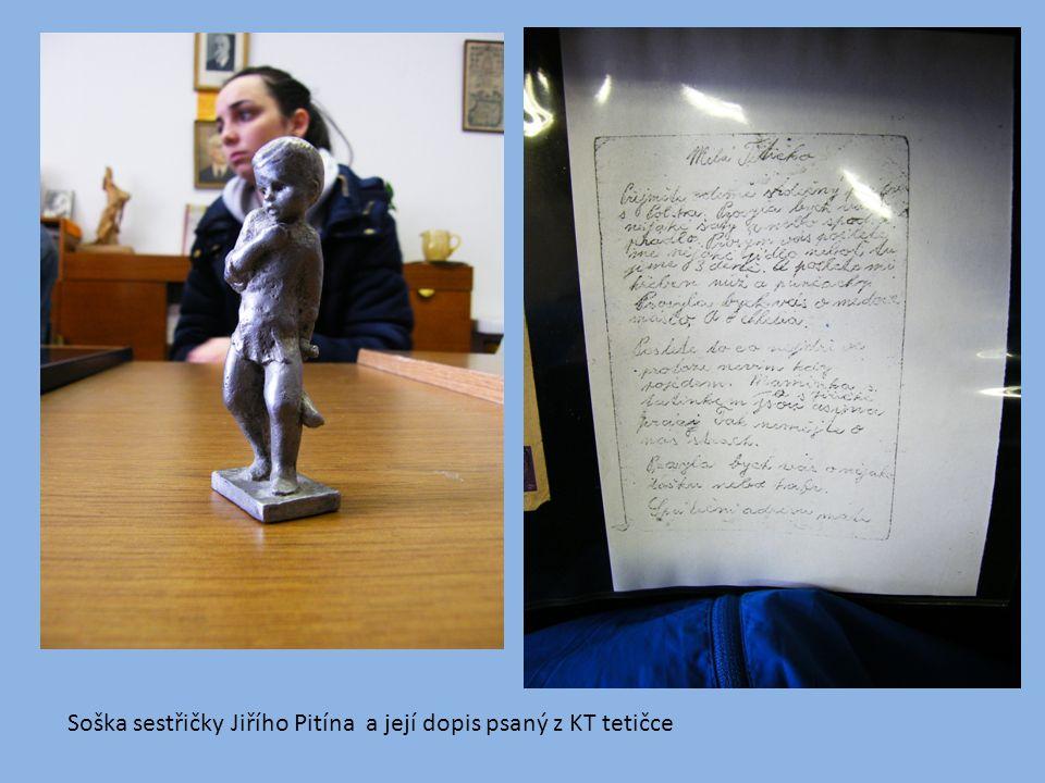 Soška sestřičky Jiřího Pitína a její dopis psaný z KT tetičce