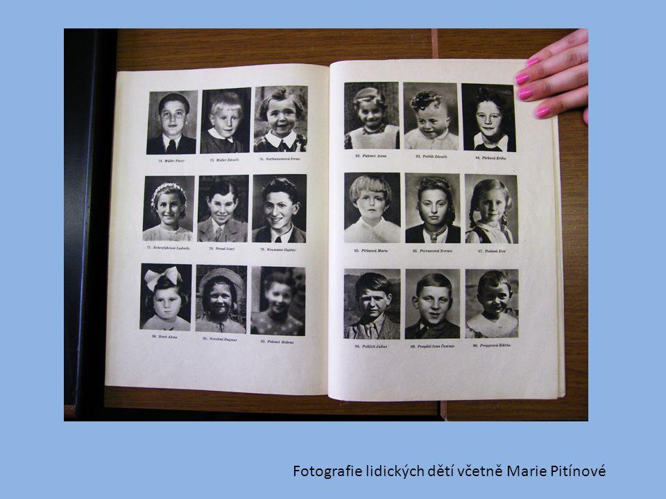 Fotografie lidických dětí včetně Marie Pitínové