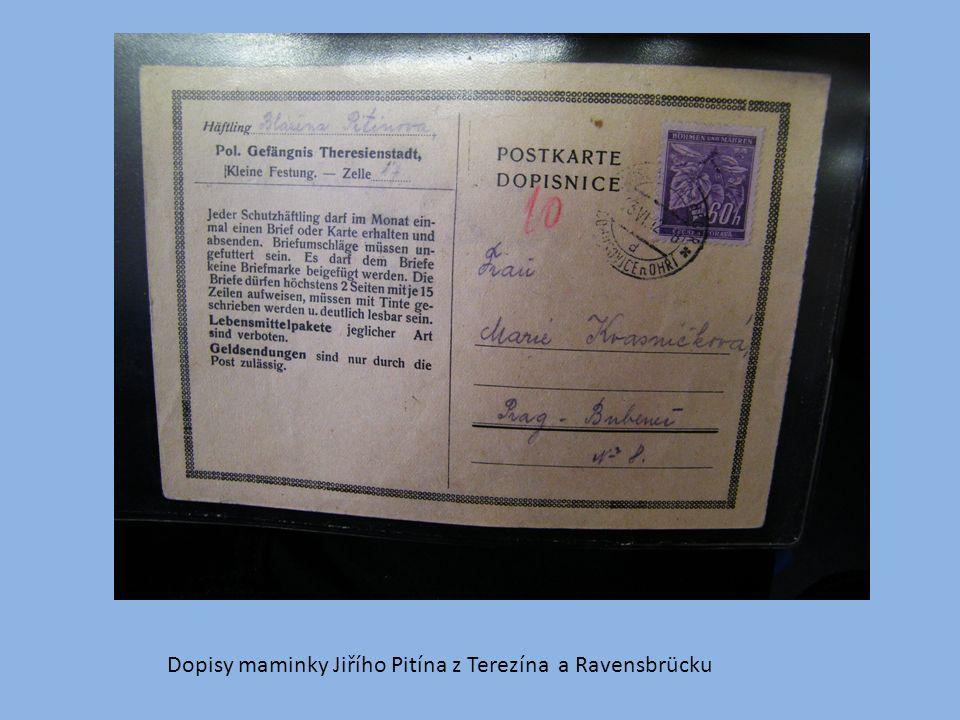 Dopisy maminky Jiřího Pitína z Terezína a Ravensbrücku