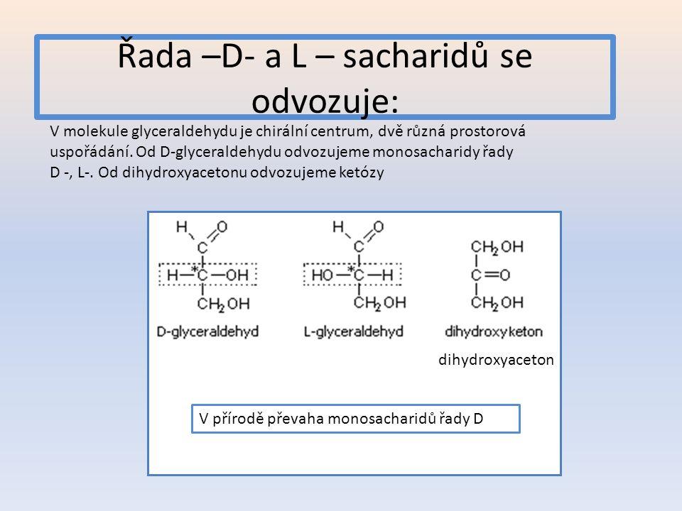 Řada –D- a L – sacharidů se odvozuje: V molekule glyceraldehydu je chirální centrum, dvě různá prostorová uspořádání. Od D-glyceraldehydu odvozujeme m